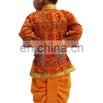 Indian Om Print Saffron Dhoti Kurta, Boy's Traditional Angrakha Set, Dhoti suit, kids baby wear, Ethnic dress kurta om print
