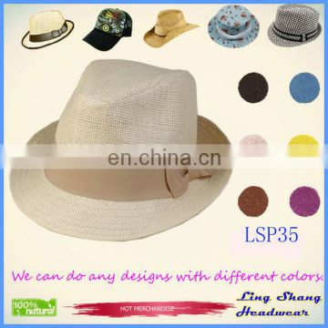 1f422802242 LSP35 Ningbo Lingshang Promotional Graceful Cream-colored Bowknot 100% Paper  Straw cowboy hat of E