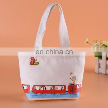 Flat Bottom Cotton Reusable Plain Tote Bag with Handles