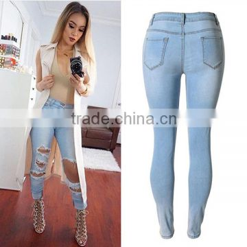 2016 Summer Fashion Women Sexy Front Cut Holes Jean Pants Ladies Stretch Pencil Fit Skinny High Waist Damaged Jeans Pant Design