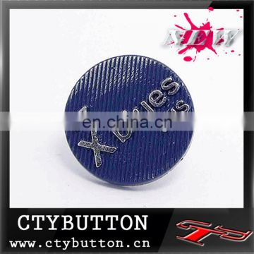 CTY-LH32 blue embossed alloy shank buttons for china supplier