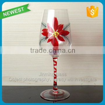 Flower Hand-painted Glass Wine Goblet Cup Glasses Red Wine Cups Merry Christmas Gift Glass Cup Goblet with Show Box