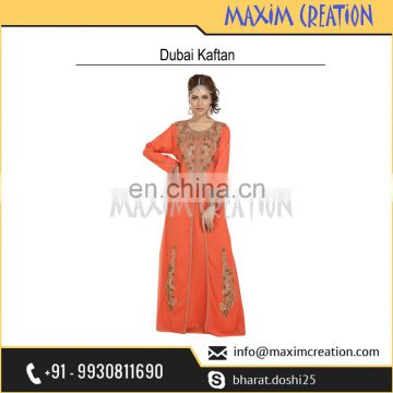Floor Touch Maxi Dress With Unique Hand Made Embroidery Design For Ladies 6570