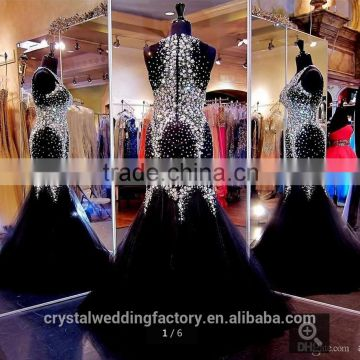 Real photos customize Rhinestone Sleeveless beading sparkly mermaid black Prom Dresses CWFp2315