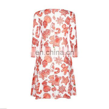 One Size Free Size Skirt Seven Quarter Sleeve Dress for Autumn Spring Christmas