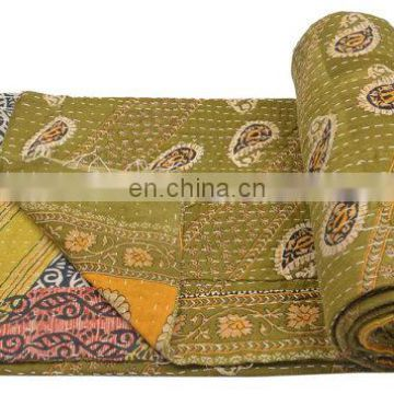 Reversible Throw Ralli Quilted Indian Handmade old vintage Kantha Quilt multicolored Gudri kantha quilt Bedspread Decor ethnic
