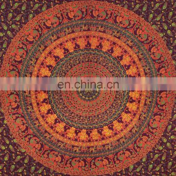 Mandala Indian Tapestry Single Size bed sheet by Handicraftofpinkcity
