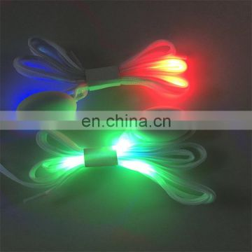 wholesale fancy nylon RGB led battery shoelaces