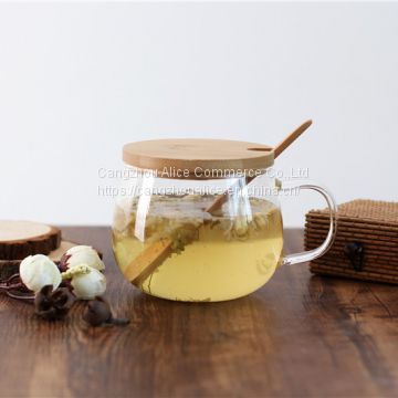 Eco-Friendly Reusable New Style Stylish Glass coffee cup with bamboo lid