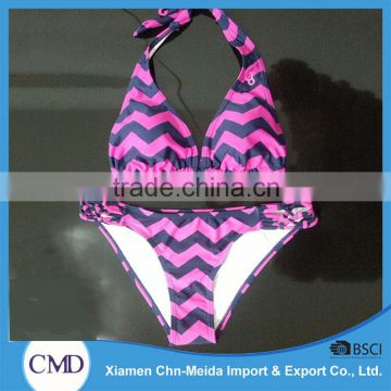 Sex Wavy Teeny Triangle Halter Ladies Bikini