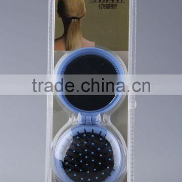 Round folding comb/Foldable hair brush with mirror