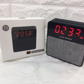 T1 new mesh gift bluetooth stereo portable wireless band time alarm clock TF card mini bluetooth speaker