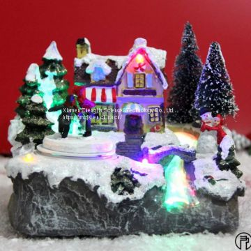 European-style Christmas decoration fiber LED rotating octave music house resin handicraft decoration house resin crafts decoration