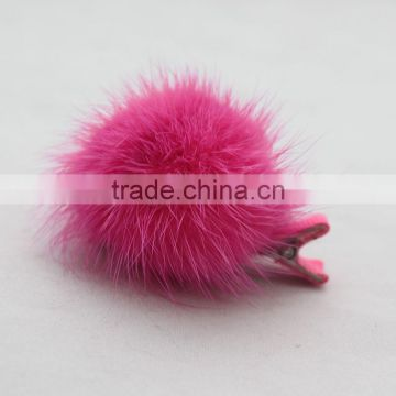 Myfur New Design Cute Fur Hairpin Real Mink Fur Pompom Hairpin For Girls