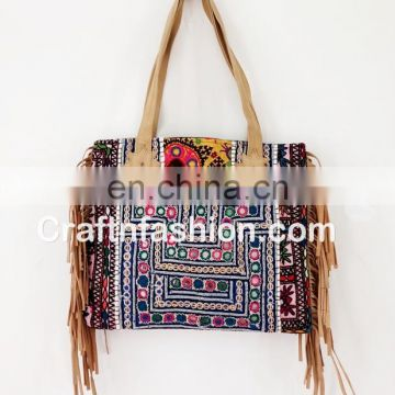 Gypsy banjara leather fringe tote bags- Genuine Banjara leather fringe handbag-Indian Vintage Leather Fringe Bag-