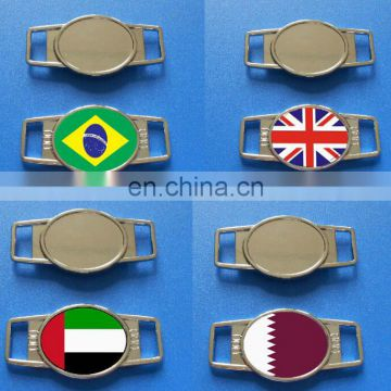 Qatar national flag metal shoelace charm for wholesale