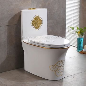 Hotel luxury ceramic high quality one piece golden modern toilet wc