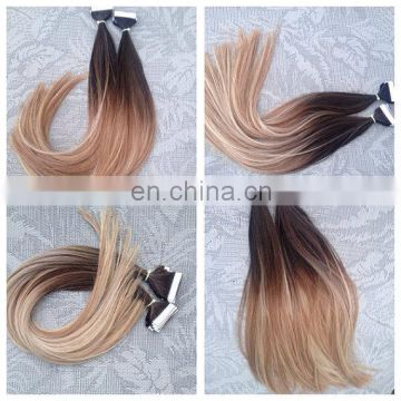 200g 8pcs Double drawn remy clips in hair for white women Bayalage color