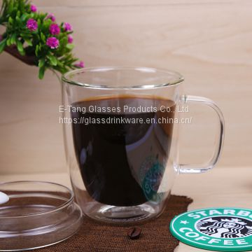 2018 China Wholesale Cheap Double Wall Glass Cup With Handle Ins Popularity Cup For Coffee Milk Juice Mug
