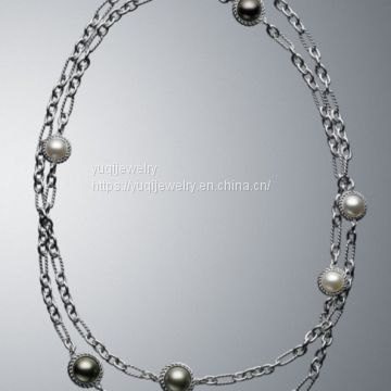 Sterling Silver Jewelry Multiple Pearl Cable Wrap Necklace 44 inches(N-034)