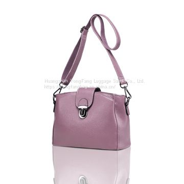 Europe and the United States new leather women's oblique cross-bag lychee-patterned head layer cowhide lock bucket one-shoulder female bag