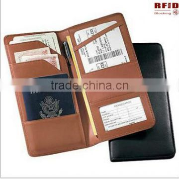 High quality OEM Genuine Leather Rfid Blocking Passport Wallet