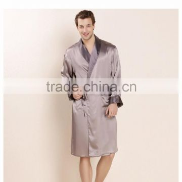 2016 New Design Male Silk Satin Long-Sleeve Kimono Sleepwear 100% Silk High Quality Sexy Men Bathing Robe Dressing Gown