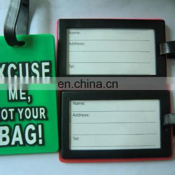 custom made rubber luggage tag with words