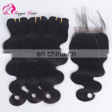 Hot Selling High Quality Raw Indian Hair Wholesale remy hair extension Human hair bundles with closure