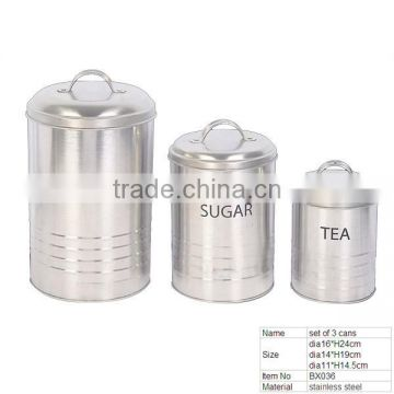 BX036 Kitchen Ware Stainless Steel set 3 of Tea/Flour/Coffee cans With Lid