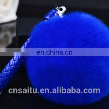 Purple pink color soft full round rex rabbit fur pompom keychain detachable real leather fur charm
