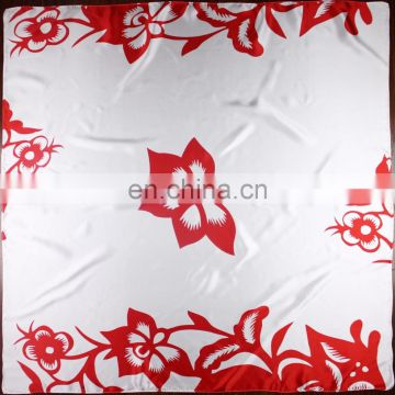 Factory Direct Luxury Custom Digital Printed white silk scarf for painting