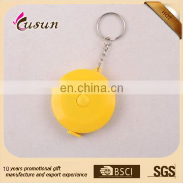 Best Advertising round shape custom printed logo promotional gift plastic mini measuring tape keychain