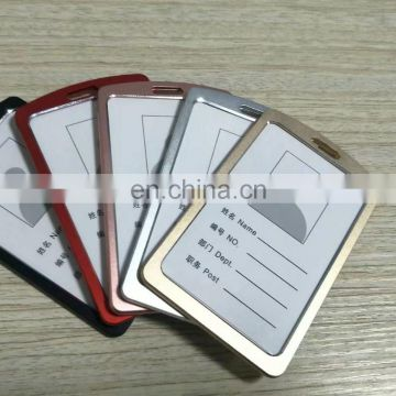 Vertical shape stainless steel card holder for id badge