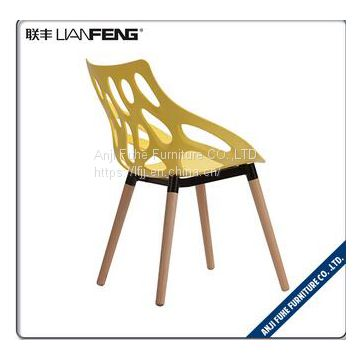 plastic chair bar chair PP material with wood legs