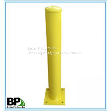 Yellow welded cap Heavy duty round steel bollards of Traffic