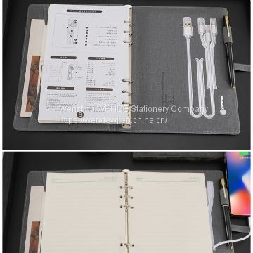 B5 Multifunction Loose-leaf  Diary Notebook With Power Bank And USB Flash Drive Wireless Charger