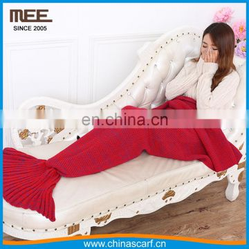 hot sell gorgeous knitted mermaid sofa bed throw crochet bedding blanket