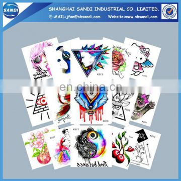 Promotional colorful custom temporary hand tattoo sticker