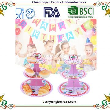 Family Party Disposable Cake Stand Birthday Party Paper Cake Stand with LFGB approval Round Cupcake Plate For Wedding