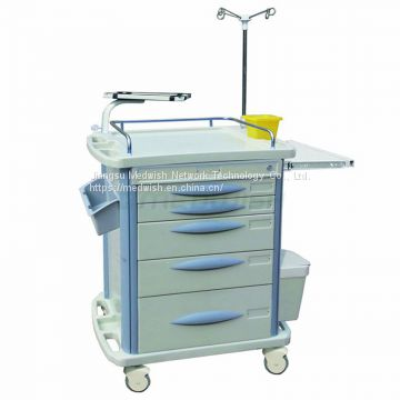 AG-ET007B3 Manufacturer medical hospital furniture abs emergency medicine trolley with five drawers