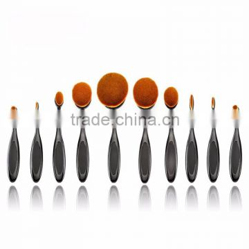 2016 New High Quality 10pcs Oval Makeup Brush Set Cosmetic Toothbrush Curve Foundation Cream Powder Blusher Makeup brush Tool