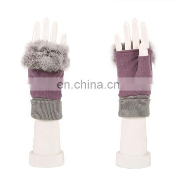 Women half finger gloves with rabbit fur winter lady wool fingerless gloves