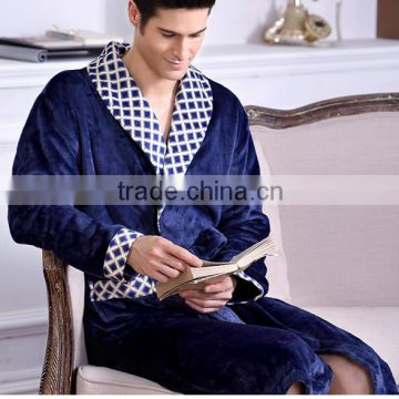 Autumn and winter thickening lovers print flannel robe male bathrobe plus size ultra long coral fleece bathrobe