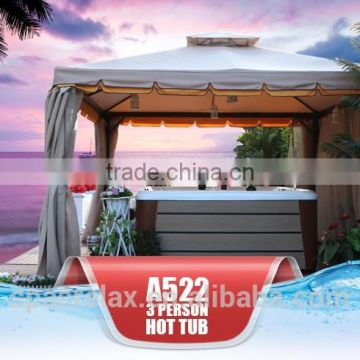 CE approved Balboa controlled Lucite Arylic Outdoor portable SPA 3 People hot bathtubs