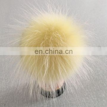 Colorful dyed color fluffy fur pom pom hand made real fur ball