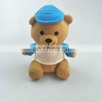mini promotion bear plush toy with clothes and hat 15cm sitting CE testing