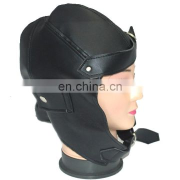 aviator cap leather black faux aviator helmet