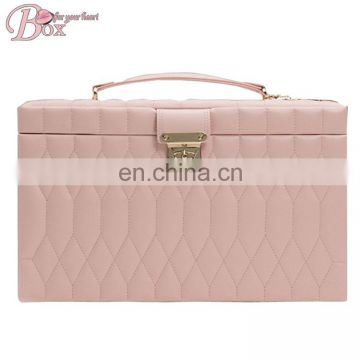 Beautiful Drawer Pink PU Leather Jewelry Storage Box with Mirror