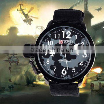 MR034 Brand New Cool Black fabric strap military royale mens man analog wrist watch